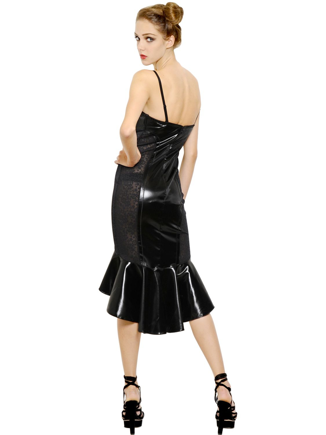 Lyst Jean Paul Gaultier Latex Effect Satin Amp Lace
