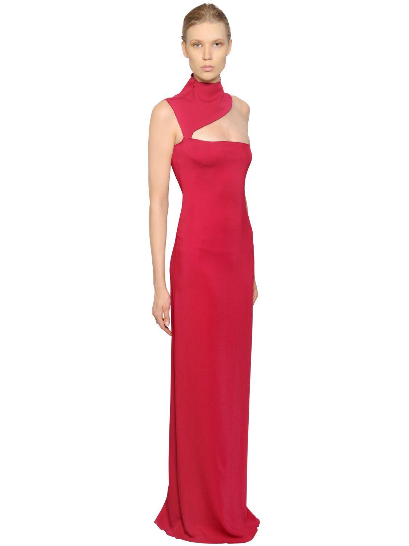 Lyst barbara casasola stretch viscose cady dress in red gallery ombrellifo Choice Image