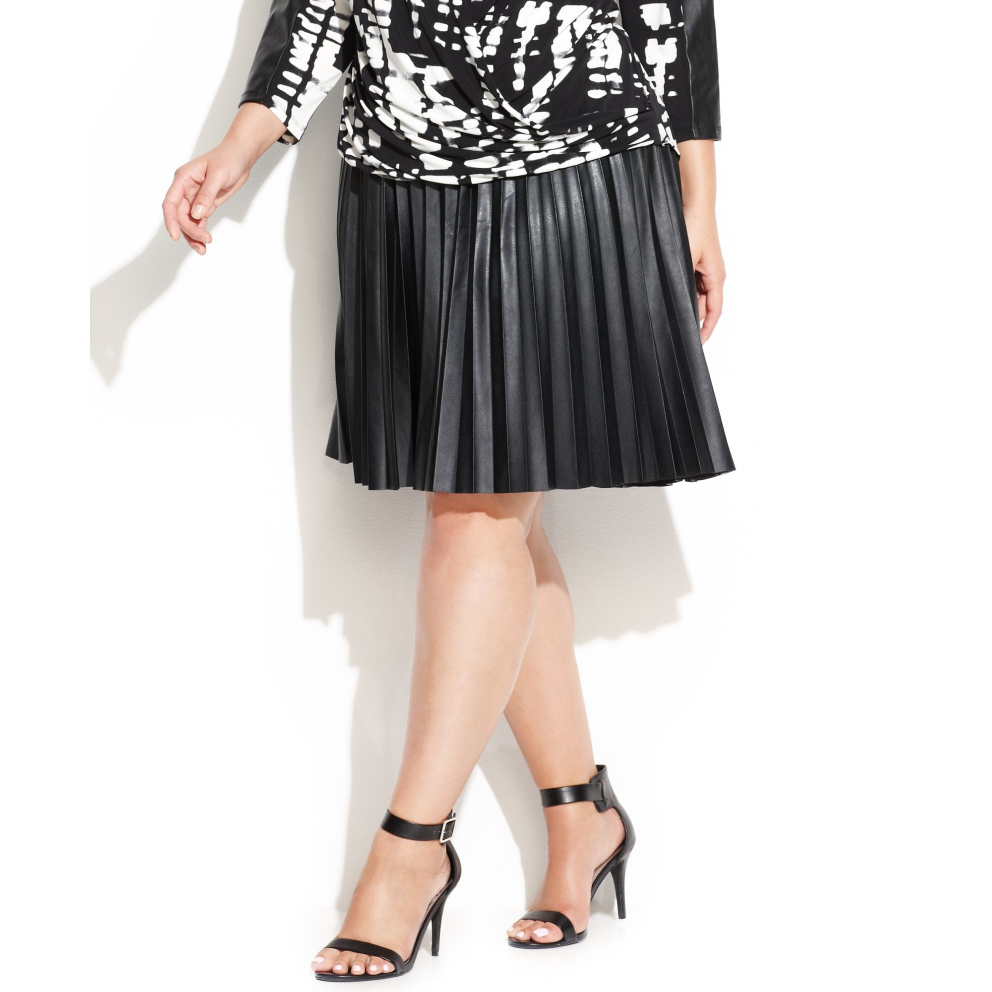 calvin klein plus size pleated faux leather skirt in black