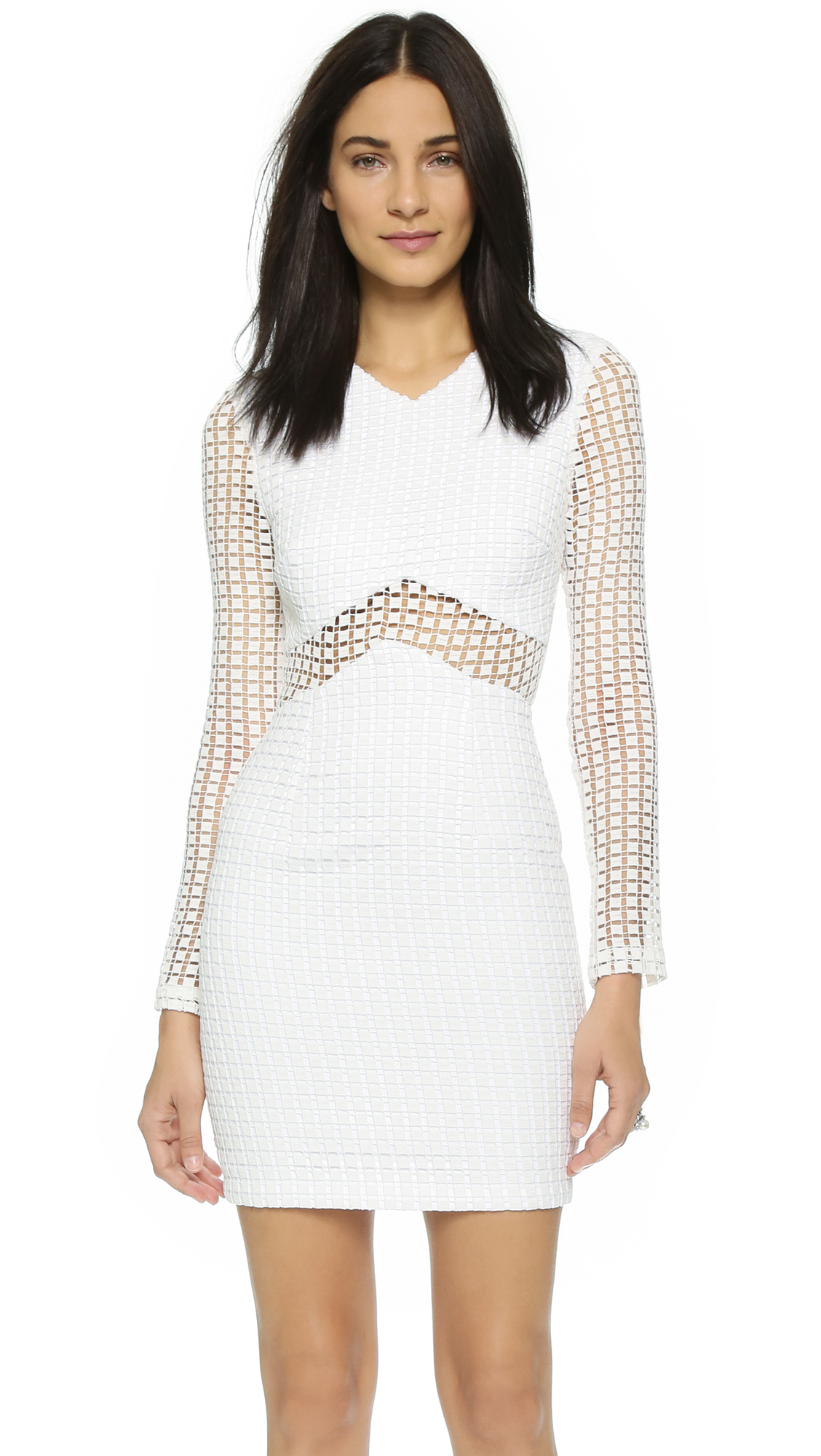 Lyst - Nicholas Square Lace Long Sleeve Dress - White in White