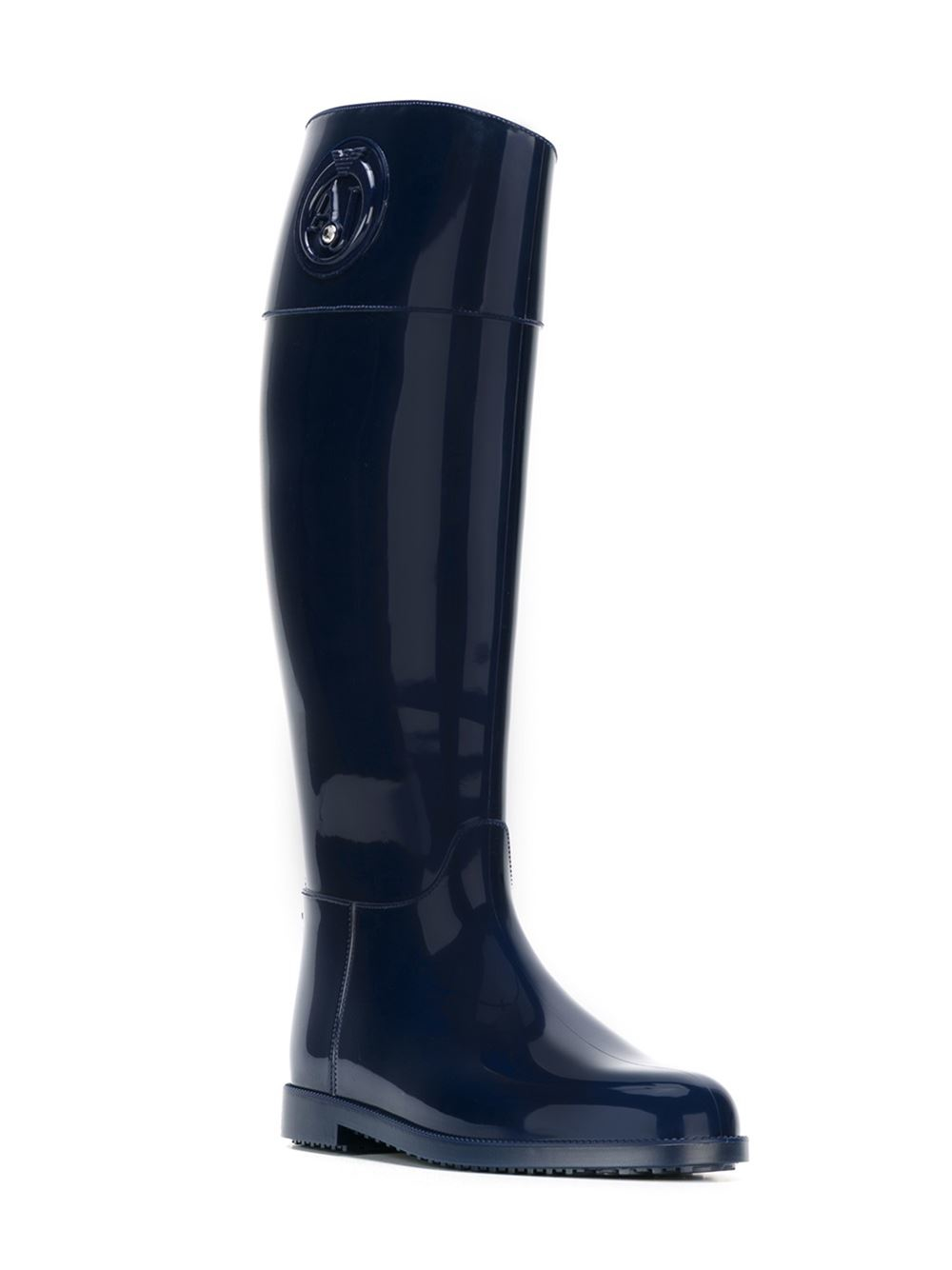 armani knee high boots in blue lyst