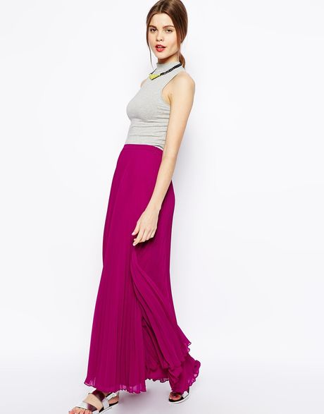 asos pleated maxi skirt in purple berry lyst