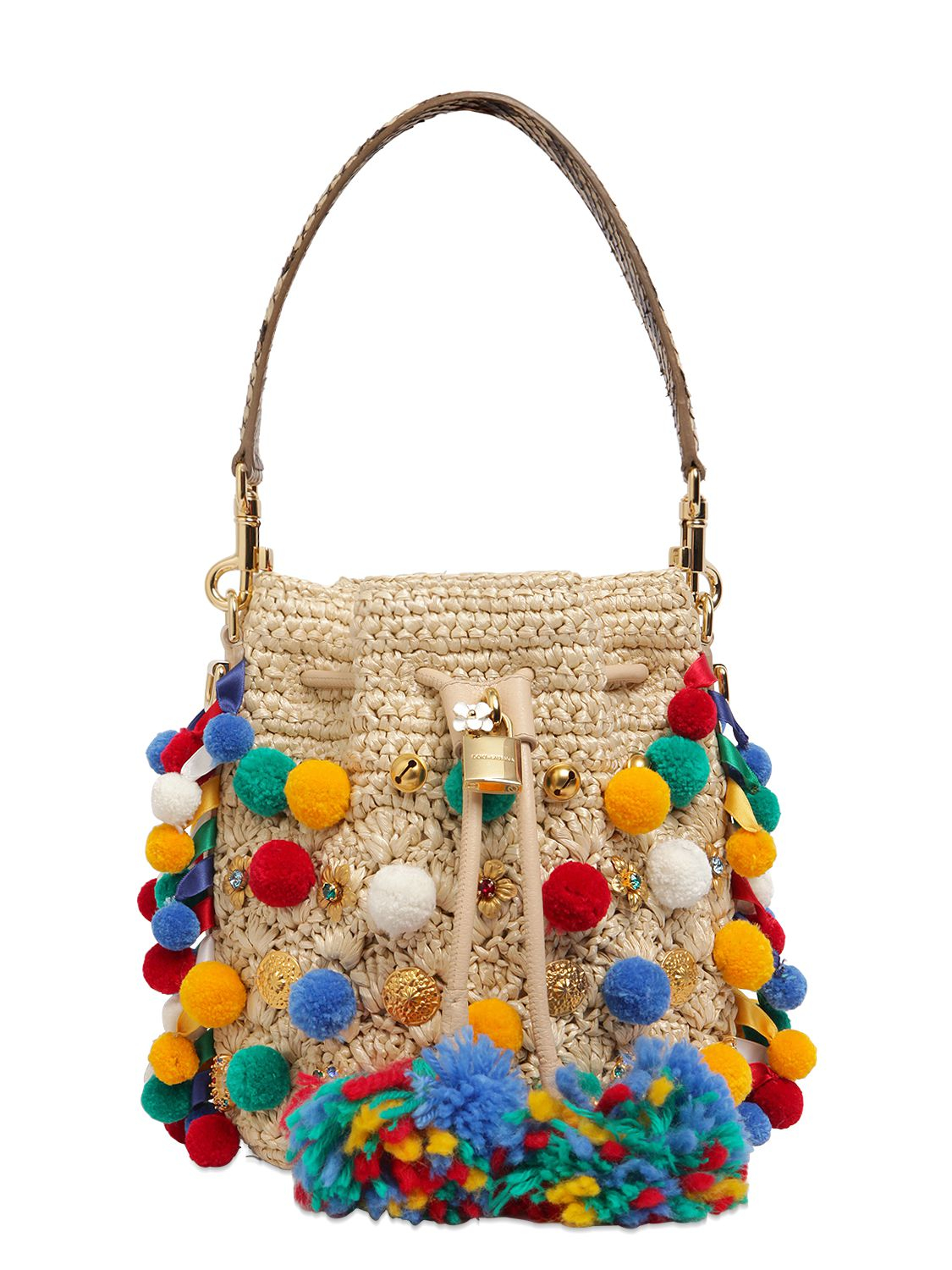 Dolce \u0026amp; gabbana Claudia Pompoms Woven Raffia Bucket Bag in Beige ...