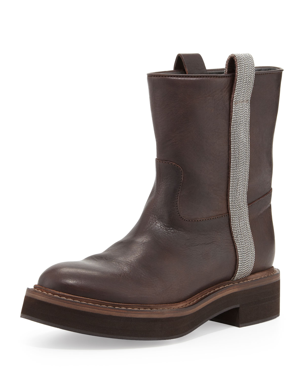 Brunello cucinelli Flat Ankle Boot With Ball-chain Trim in Brown ...