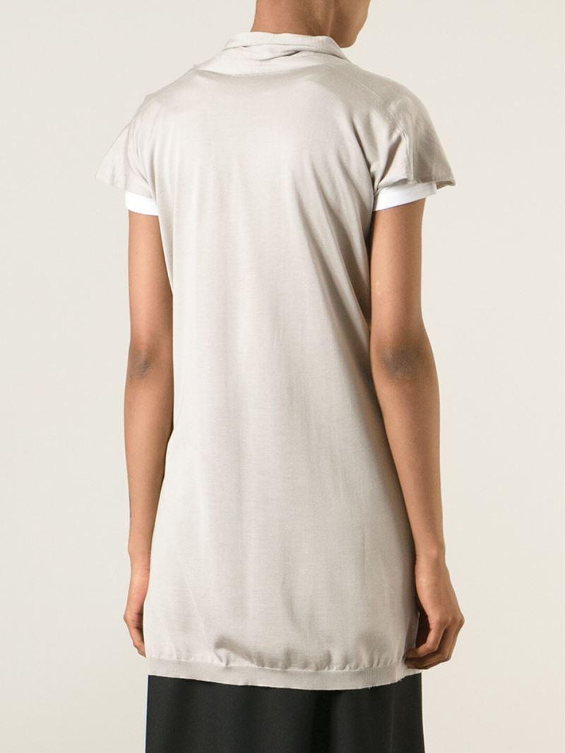 Agnona Short Sleeve Cardigan in Gray | Lyst