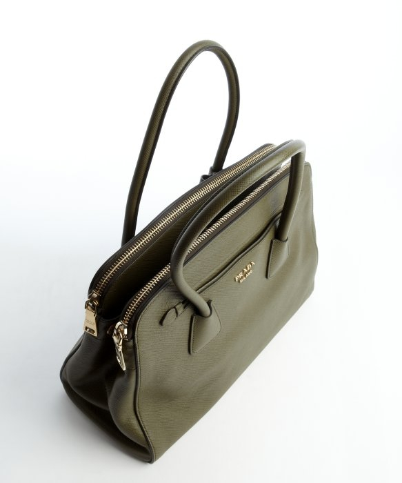 Prada Military Green Saffiano Leather Convertible Top Handle Bag ...