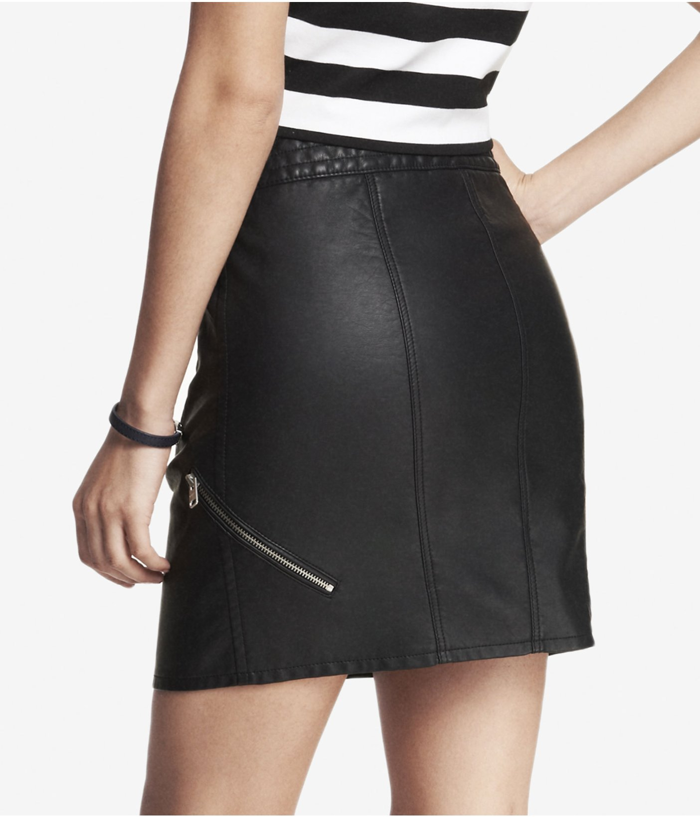 6c898aeeb Express High Waist Minus The Leather Zippered Mini Skirt in Black - Lyst