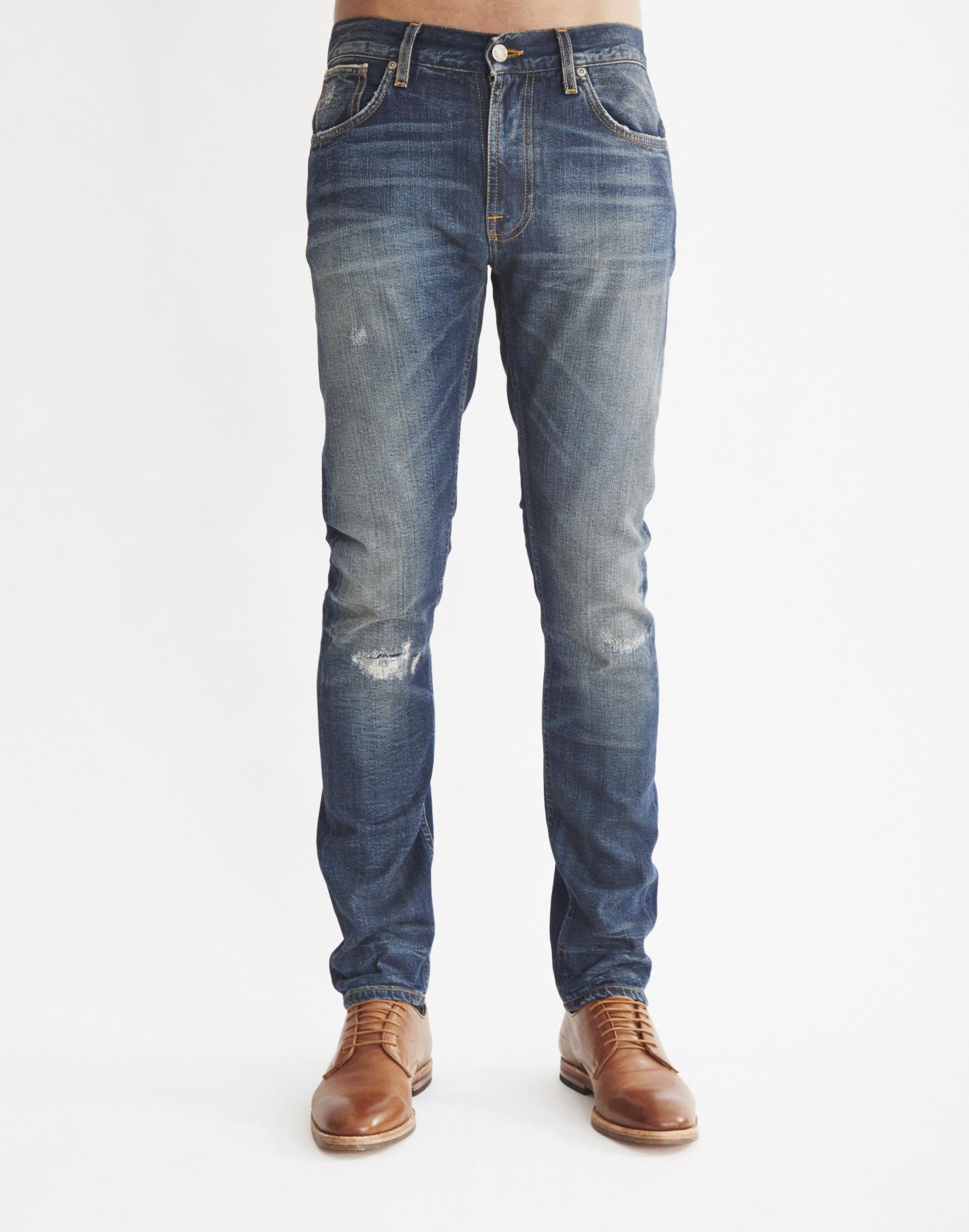 nudie jeans thin finn jonas replica jeans in blue for men. Black Bedroom Furniture Sets. Home Design Ideas