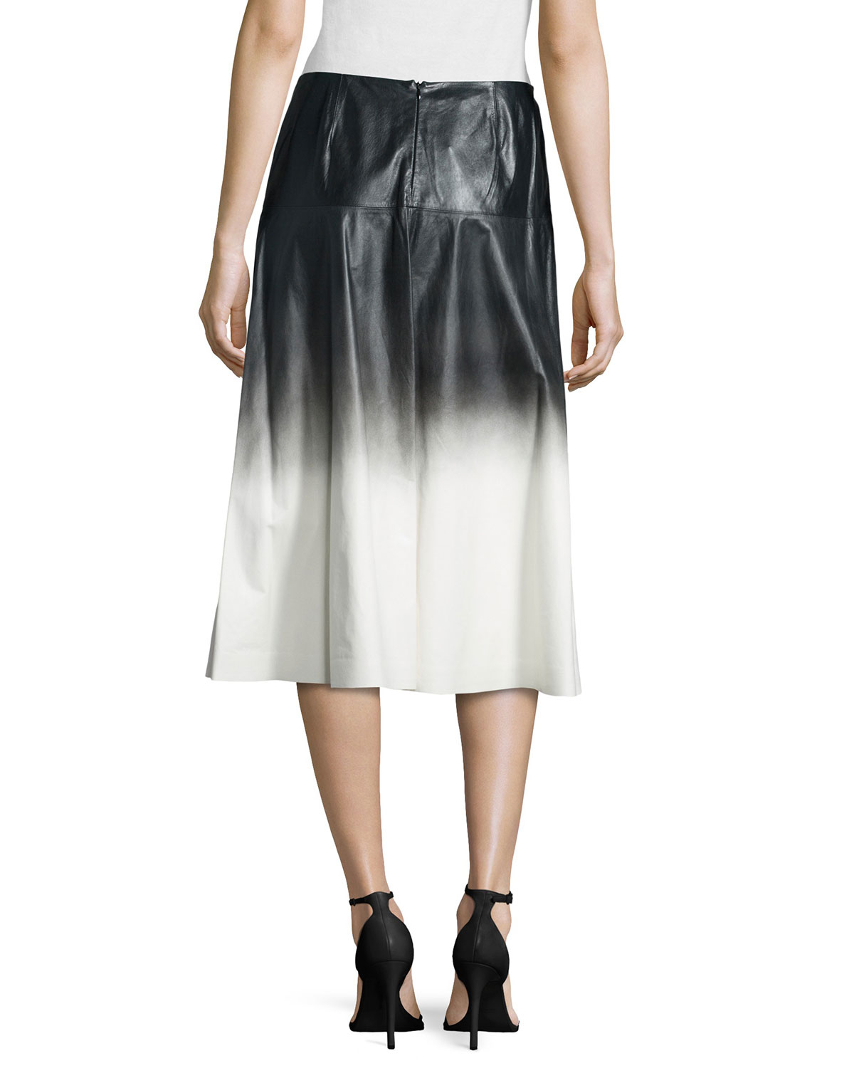 lafayette 148 new york jessa ombre leather skirt in black