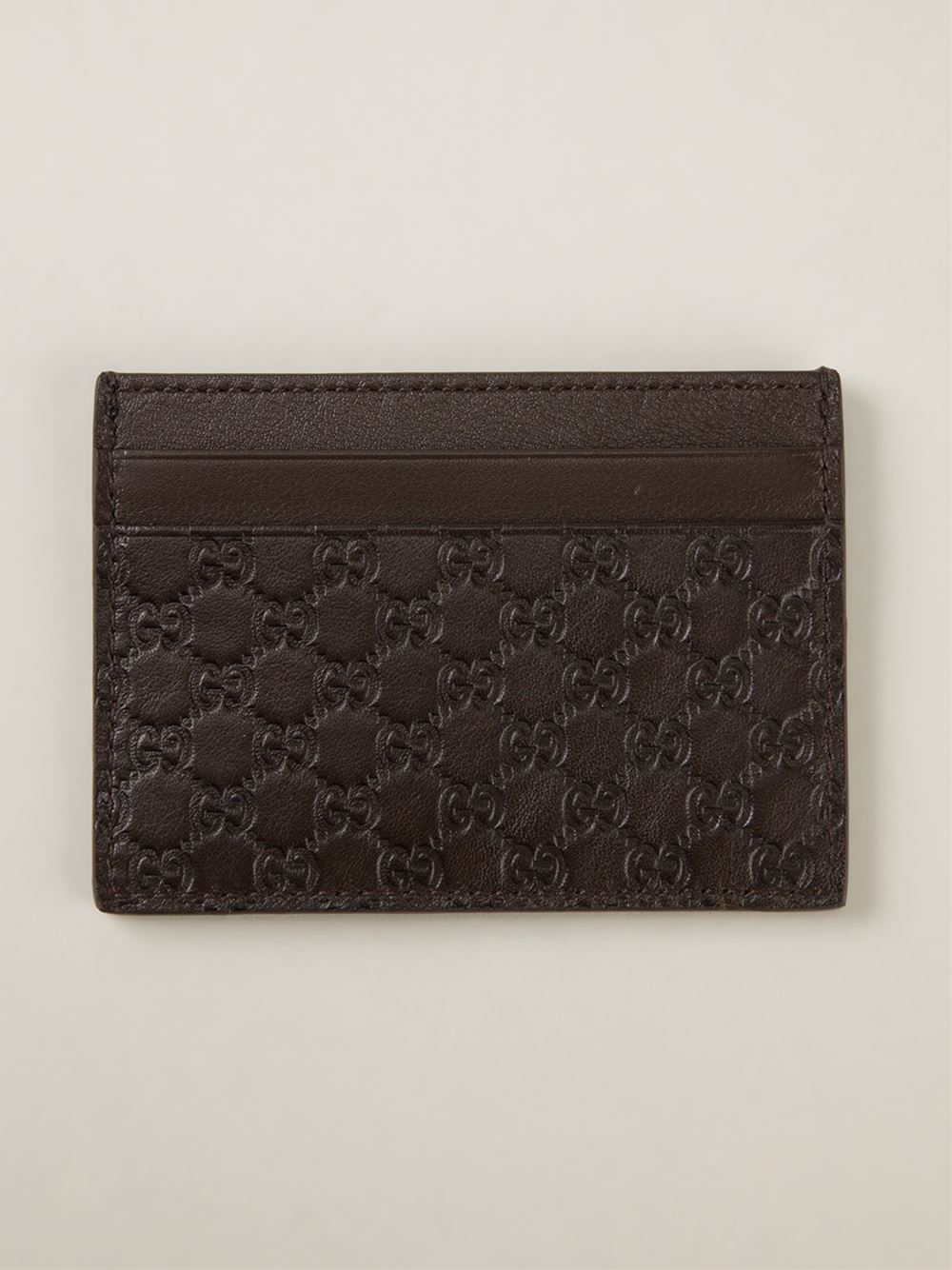 4d008bd06b3 Lyst - Gucci  ssima  Embossed Card Holder in Brown for Men