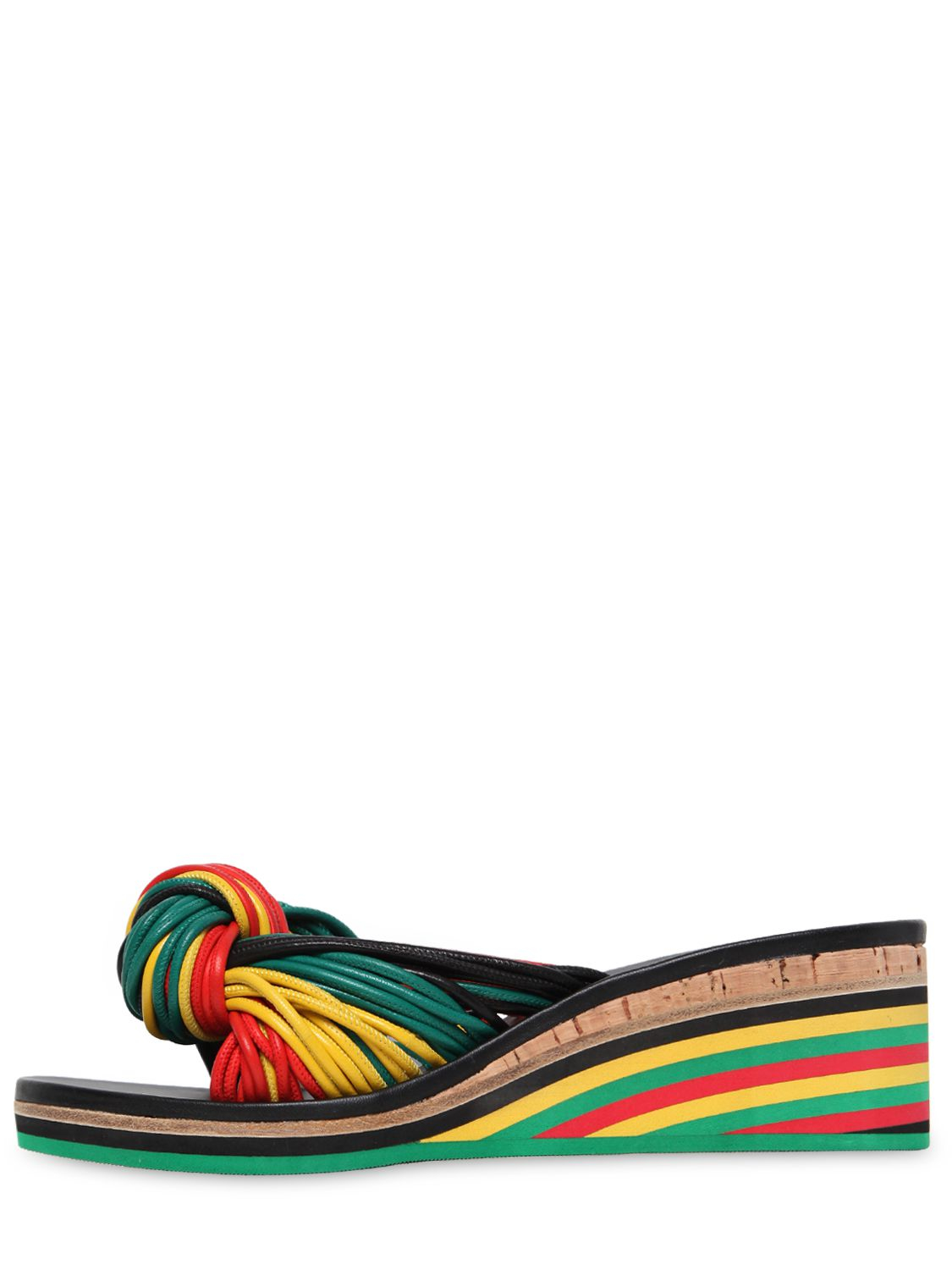 Chlo 233 60mm Jamaica Knot Leather Wedge Sandals In Green Lyst