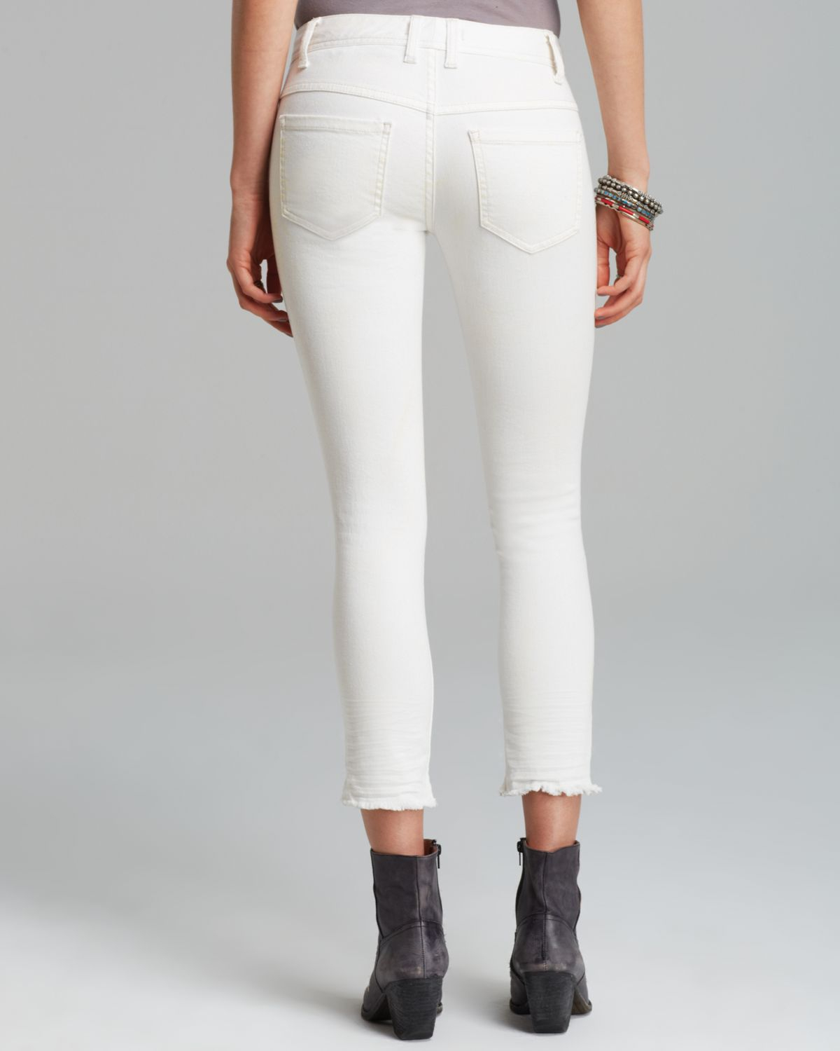 Free people Jeans - Skinny Destroyed Ankle In White in White | Lyst