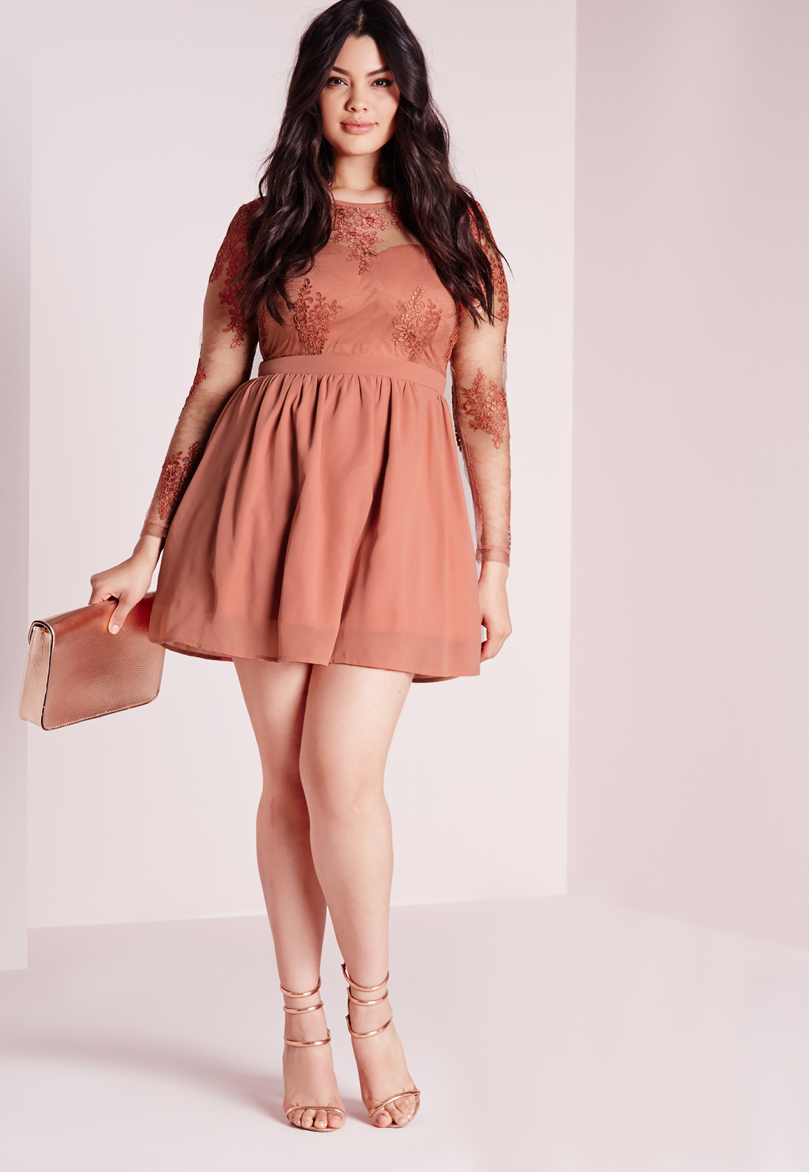 d49dd69bea9 Missguided Plus Size Lace Prom Dress Blush in Red - Lyst