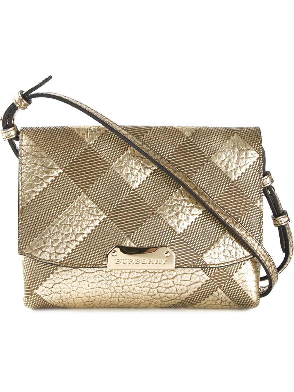Burberry Embossed Check Leather Cross Body Bag In Metallic