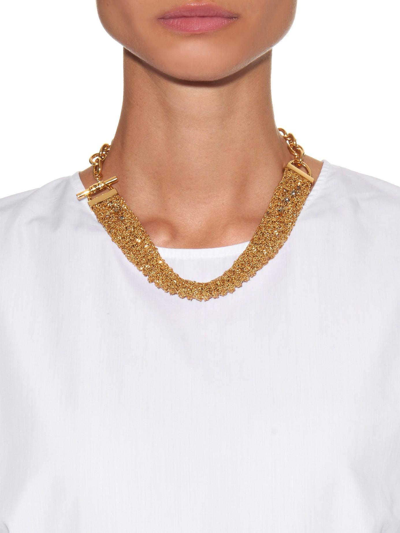 Lyst Diane Von Furstenberg Woven Chain Gold Plated
