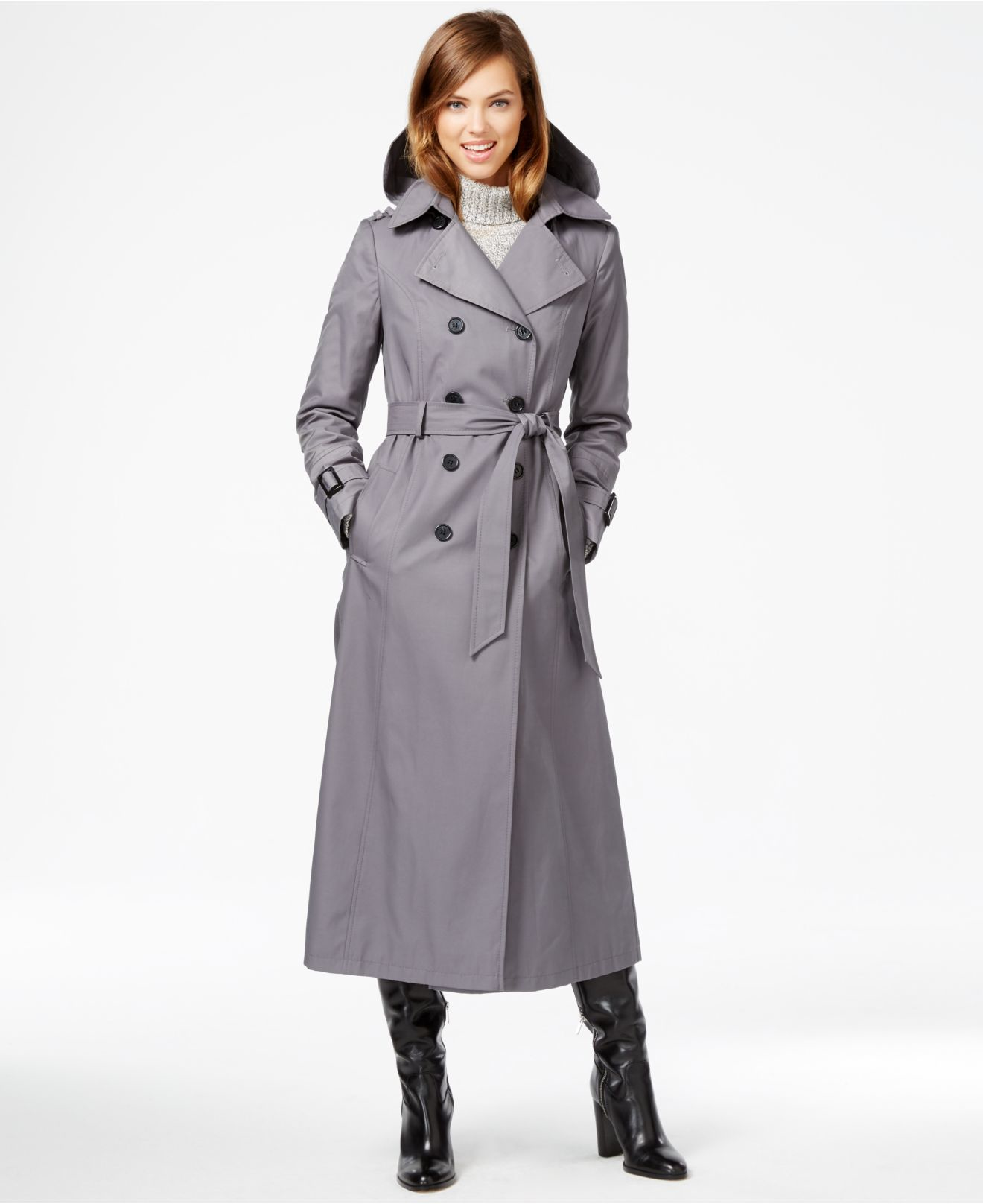 2019 clearance sale 100% original buy cheap DKNY Hooded Double-breasted Maxi Trench Coat in Iron (Gray ...