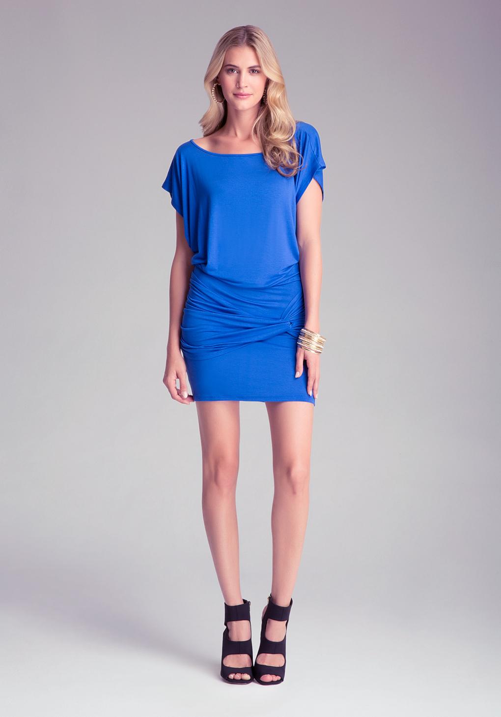 bebe shirred skirt bodycon dress in blue lyst