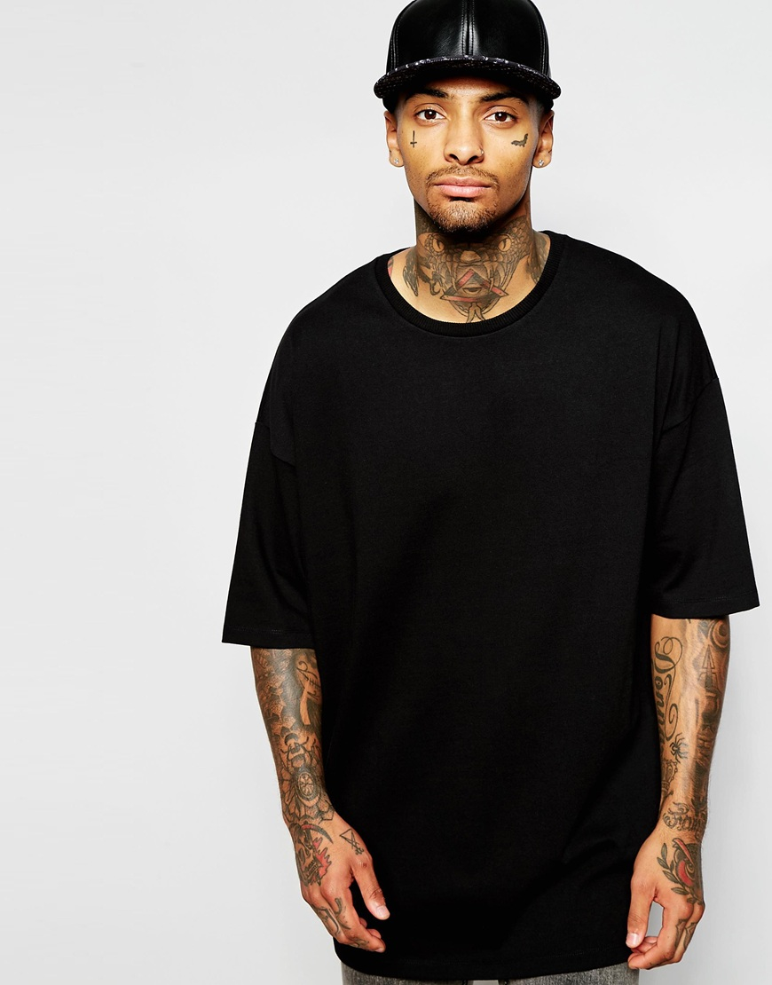 asos super oversized t shirt in heavyweight jersey in black for men. Black Bedroom Furniture Sets. Home Design Ideas