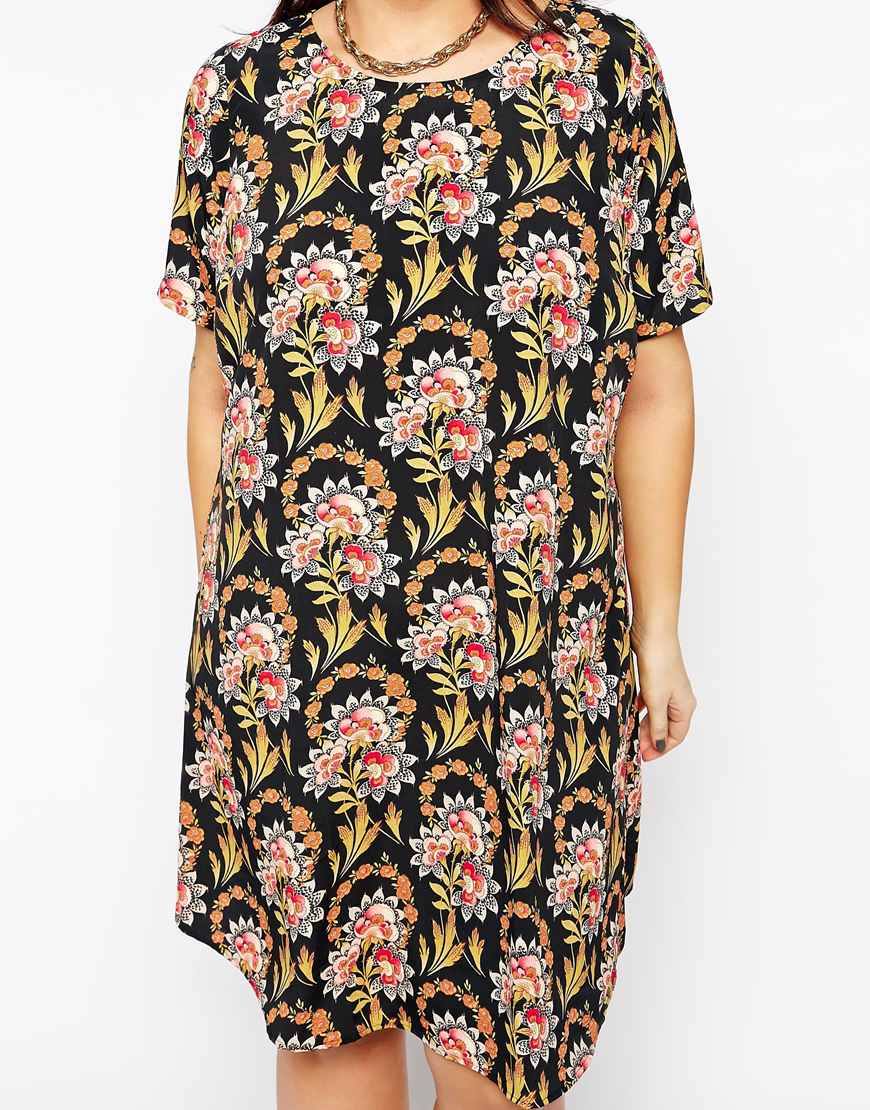 78f39a359d ASOS Exclusive T-shirt Dress In Folk Floral in Black - Lyst