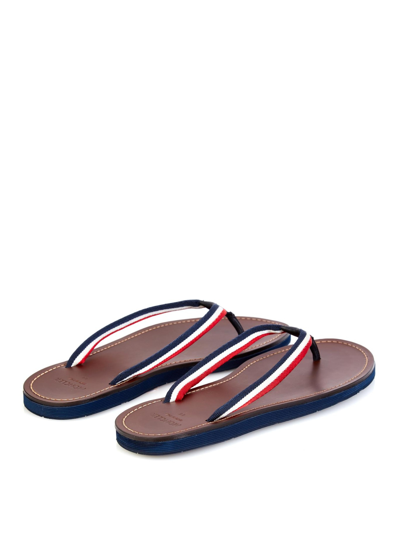8d83f243f1d3 Lyst - Moncler Striped Canvas And Leather Flip-Flops in Brown for Men