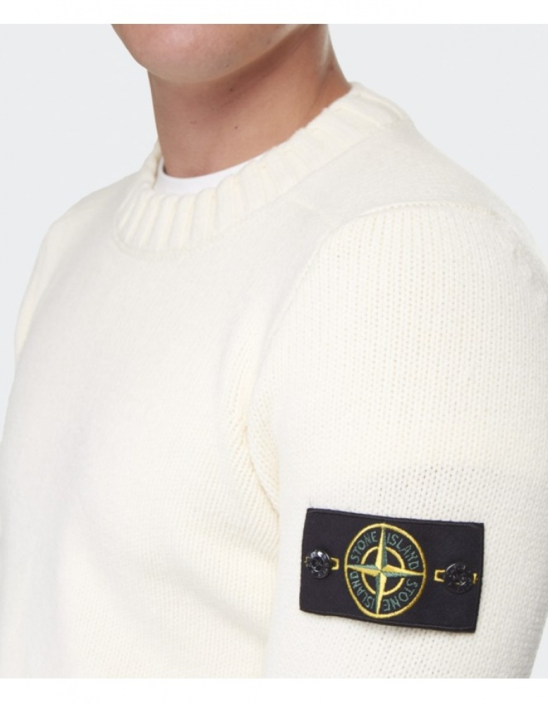 lyst stone island crew neck sweater in white for men