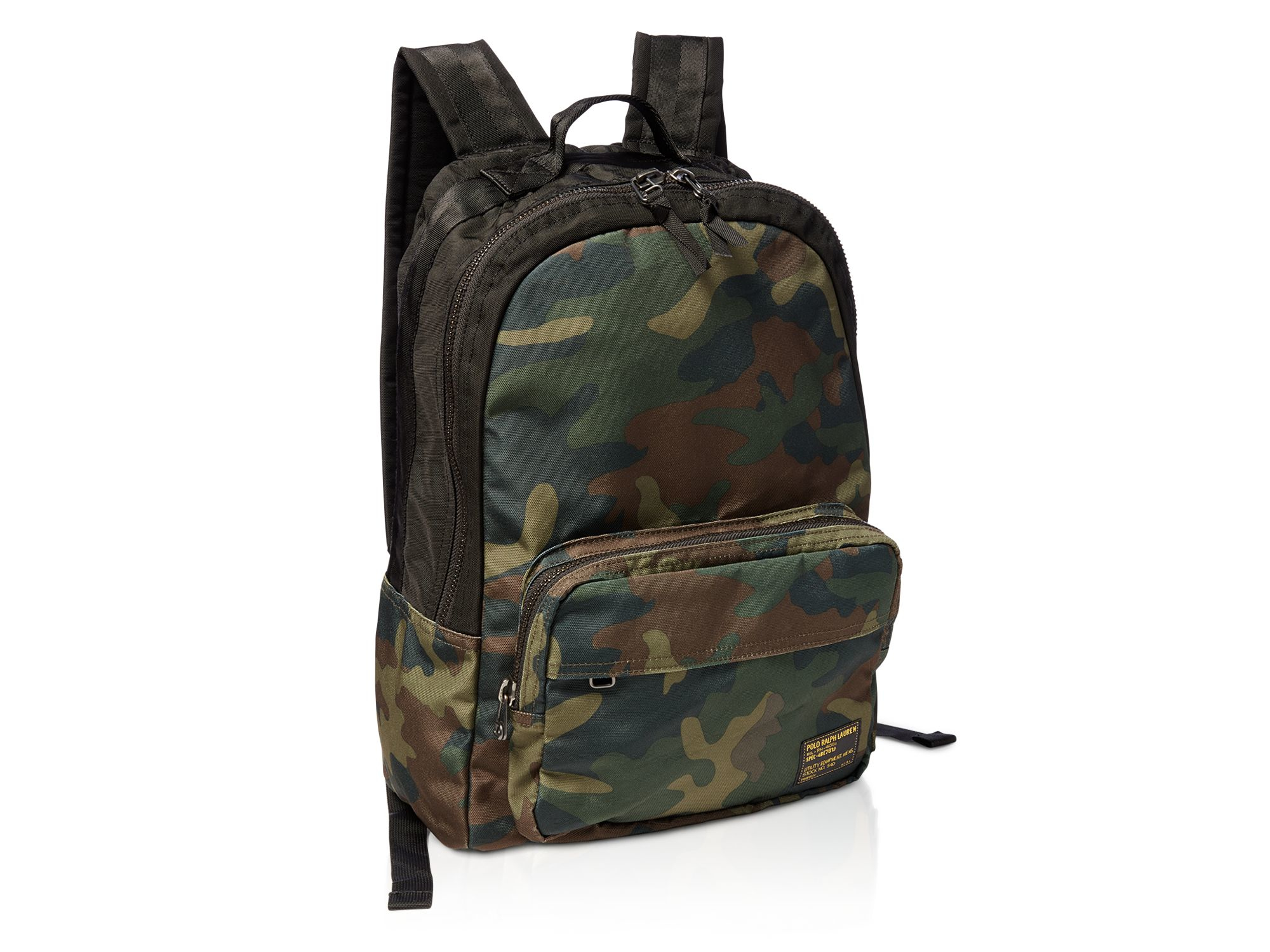 pink pony polo camo print military backpack in natural for men lyst