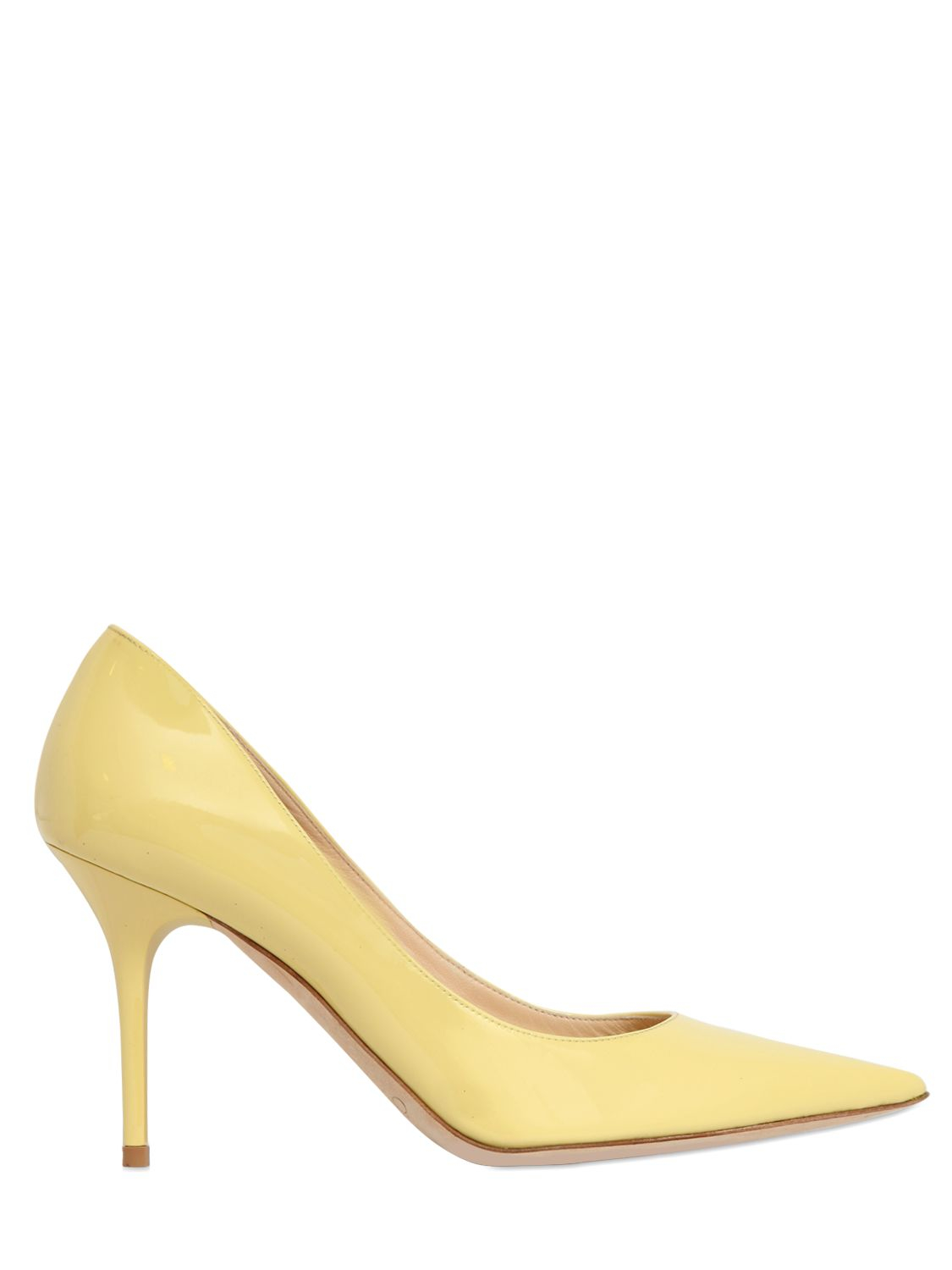 e3372effdd6e Lyst Jimmy Choo 100mm Abel Patent Leather Pumps In Yellow
