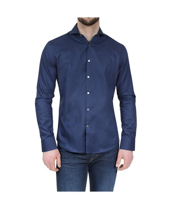 Stone Rose Navy Textured Button Down Shirt In Blue For Men