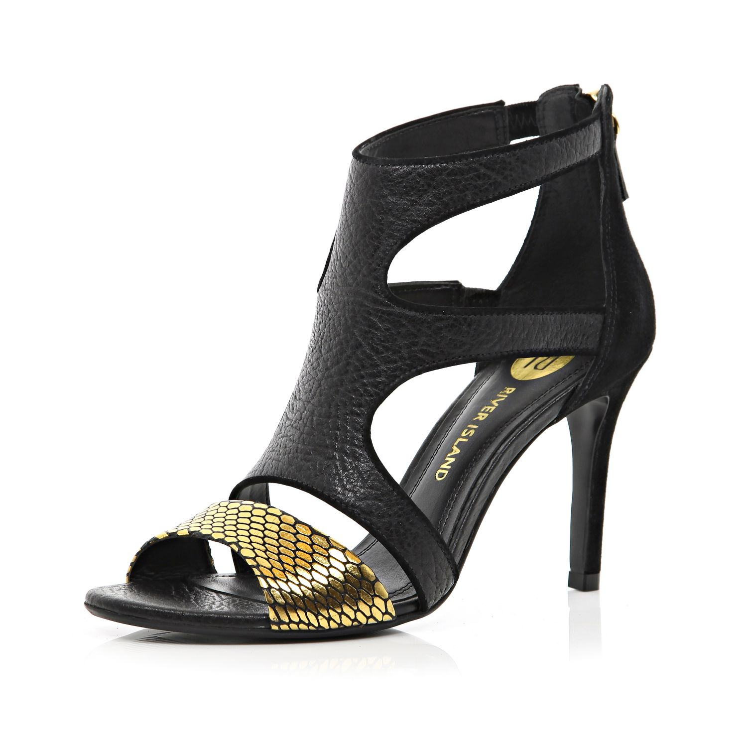 River island Black Metallic Strappy Mid Heel Sandals in Black  Lyst