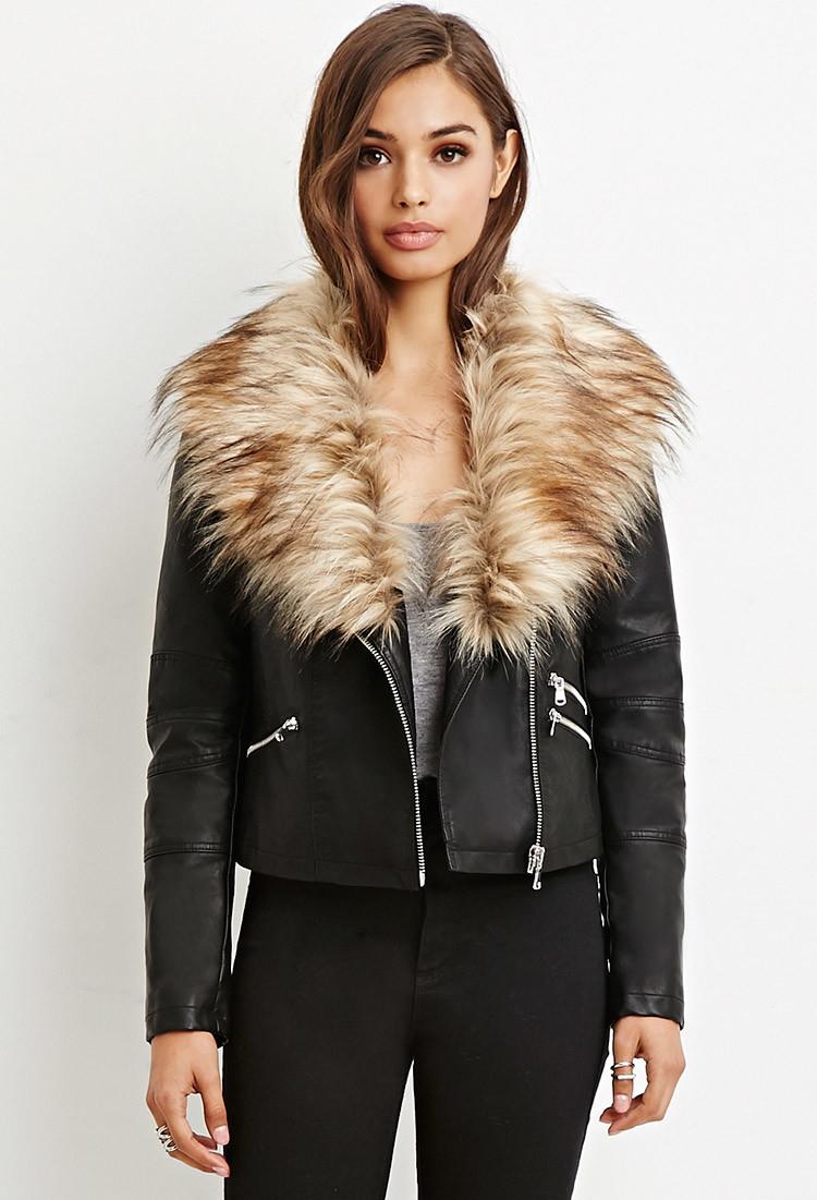 Forever 21 Faux Fur-trimmed Moto Jacket in Black | Lyst