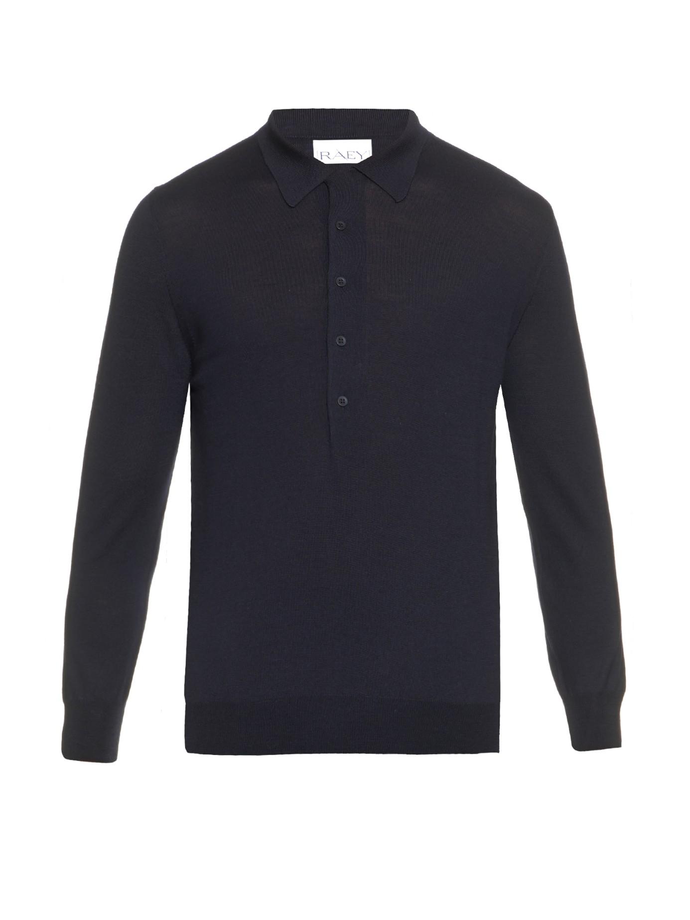 Lyst raey long sleeved wool polo shirt in blue for men for Long sleeve wool polo shirts
