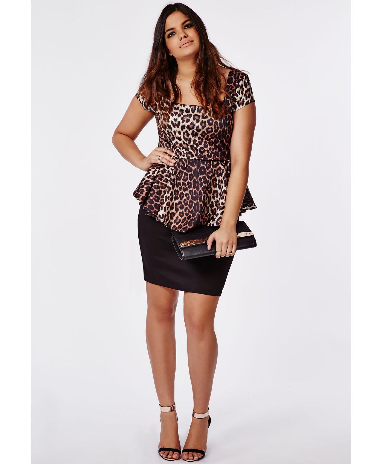 Missguided Plus Size Leopard Print Peplum Dress - Lyst 350815270
