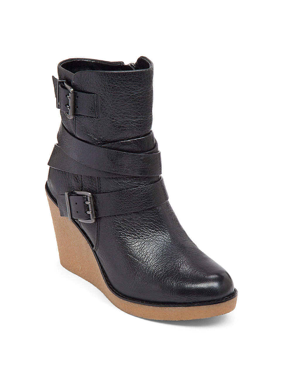 bcbgeneration finland leather wedge boots in black lyst