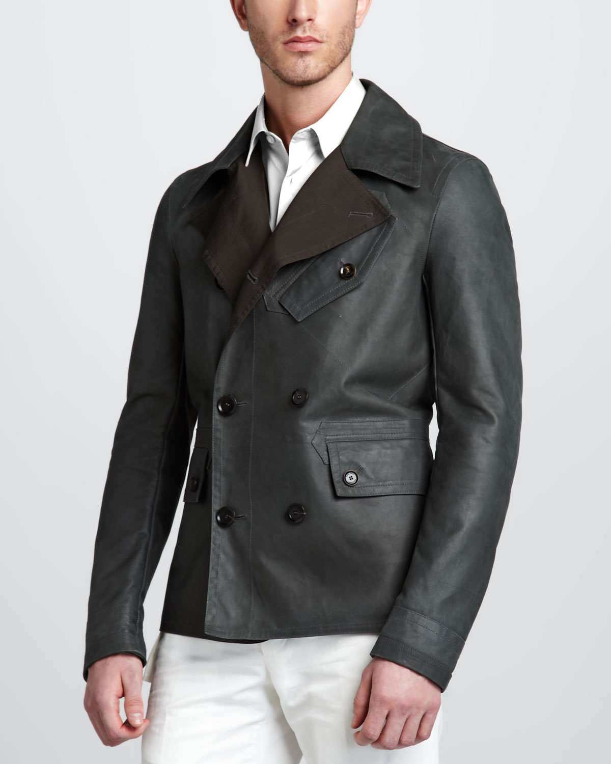 Belstaff Denton Short Pea Coat in Green for Men | Lyst