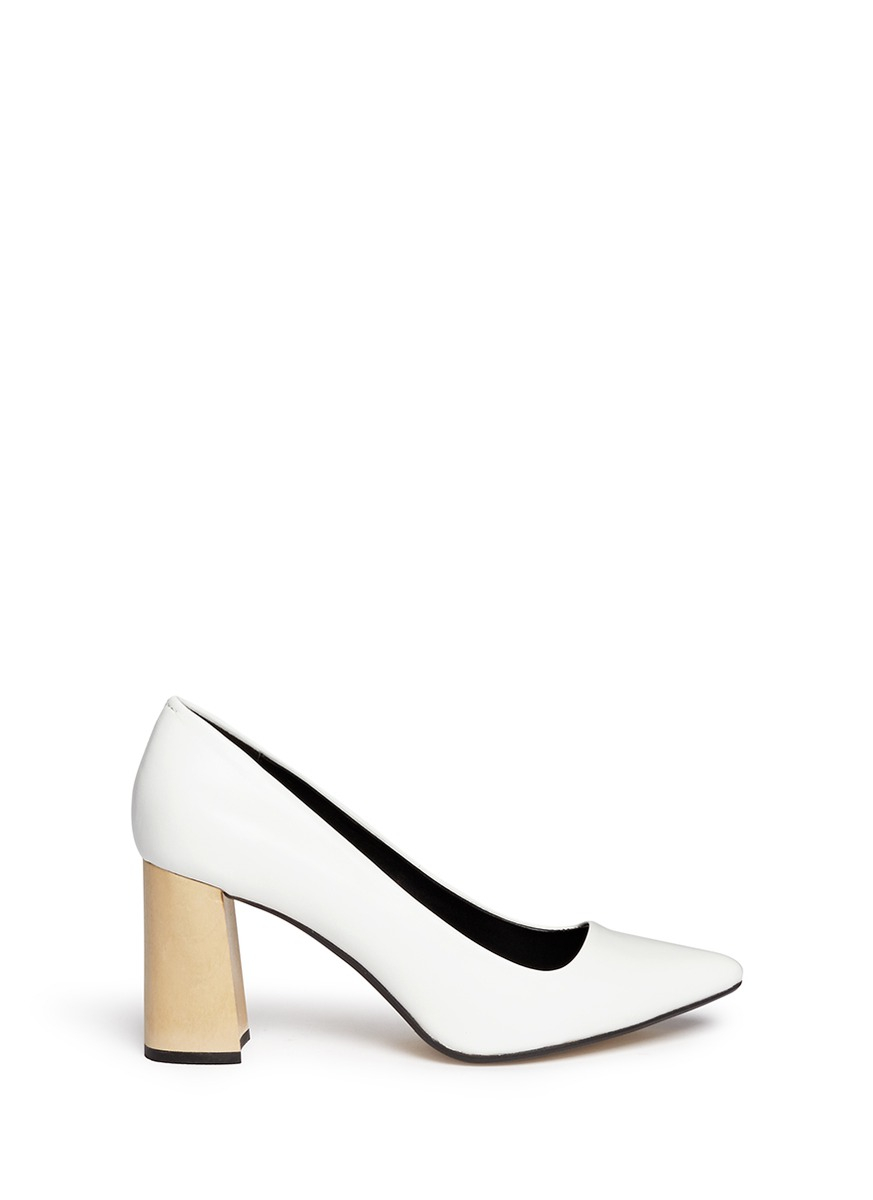 Pedder red Wooden Heel Leather Pumps in White | Lyst