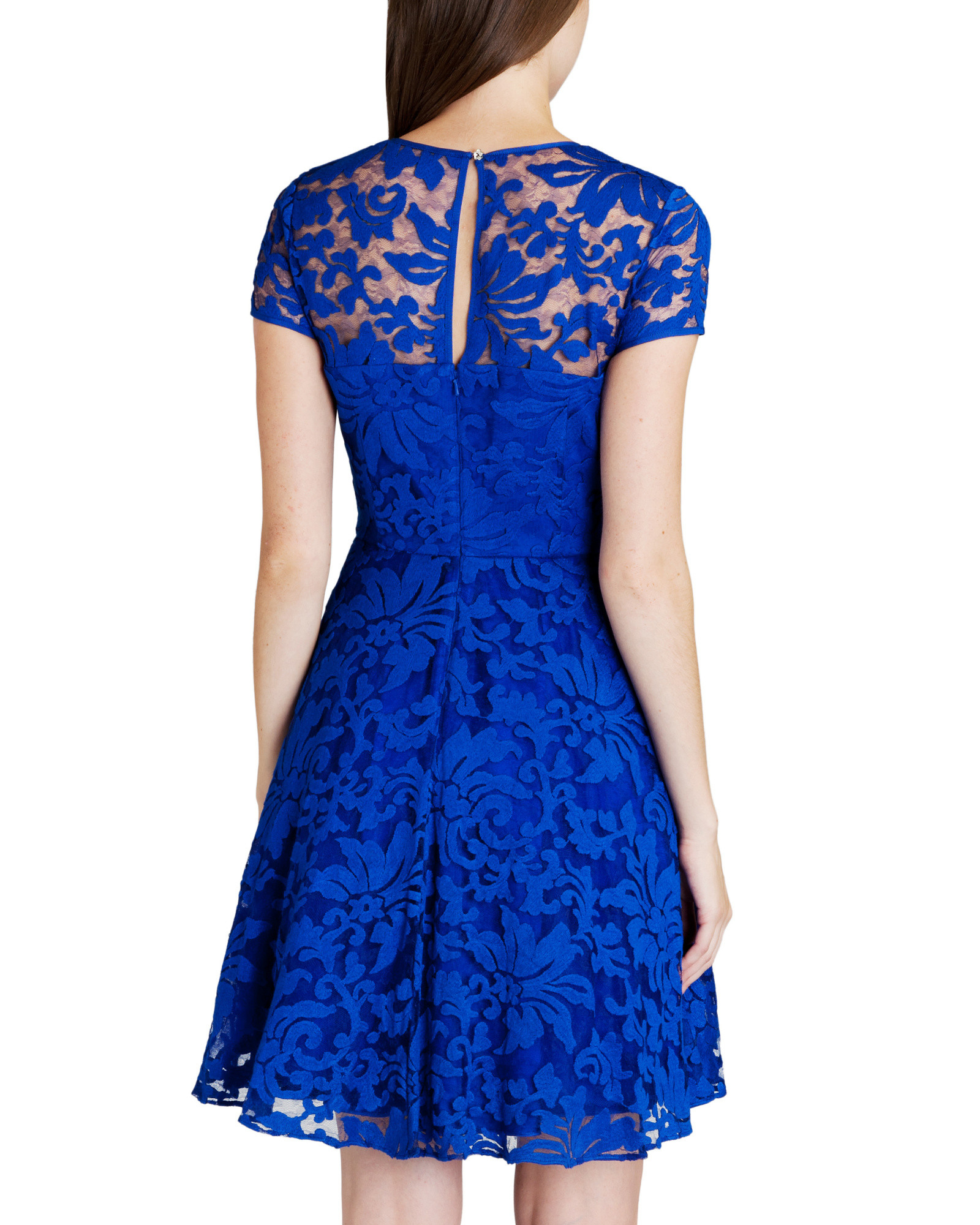 Lyst Ted Baker Caree Sheer Floral Overlay Dress In Blue