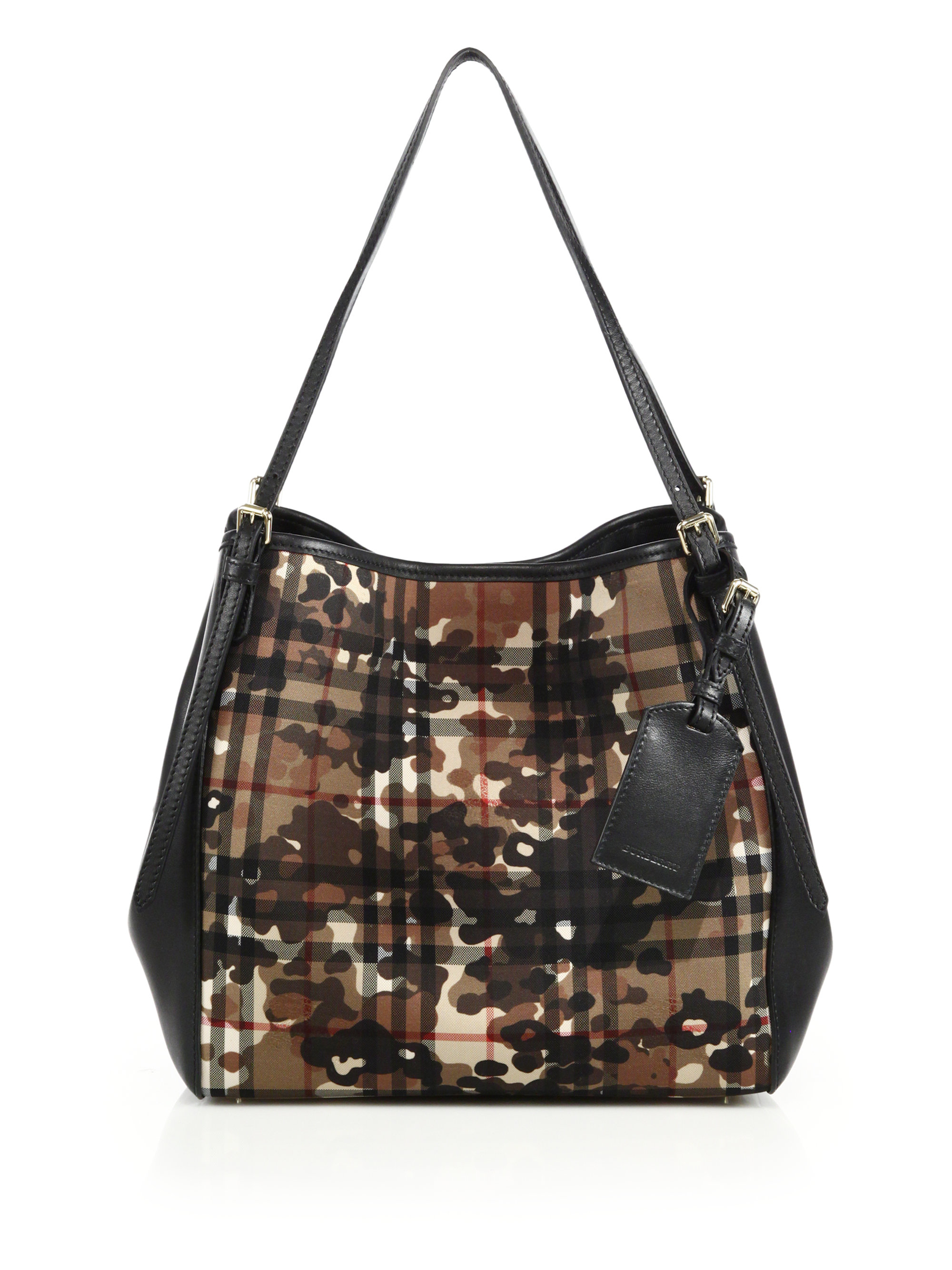 f2a47cff9375 Lyst - Burberry Canter Small Camouflage Check Textile   Leather Tote ...