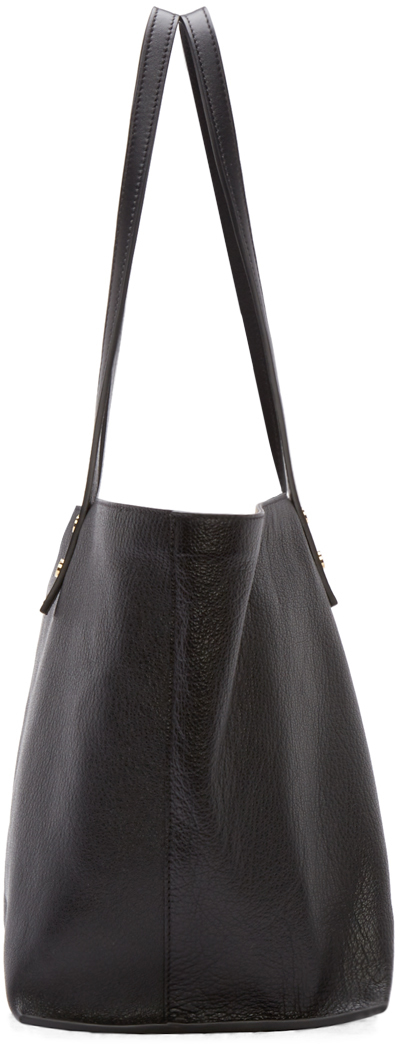 Chlo�� Black Grained Leather Tote Bag in Black   Lyst