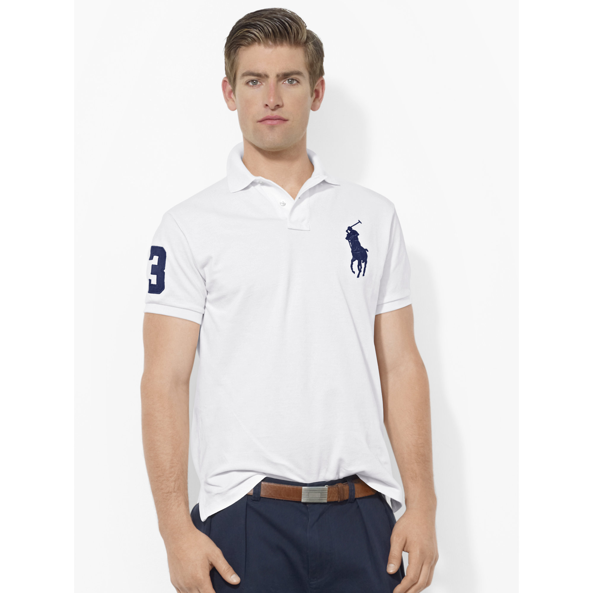 38f4035a50e8 Polo Ralph Lauren Custom-fit Big Pony Polo in White for Men - Lyst