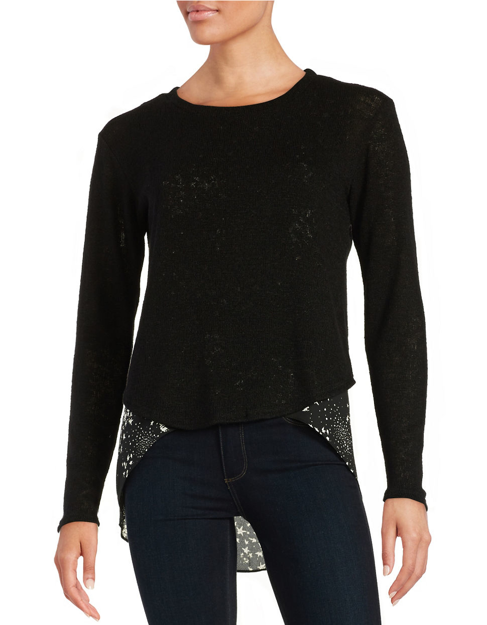 Lord Taylor Layered Effect Sweater In Black Lyst