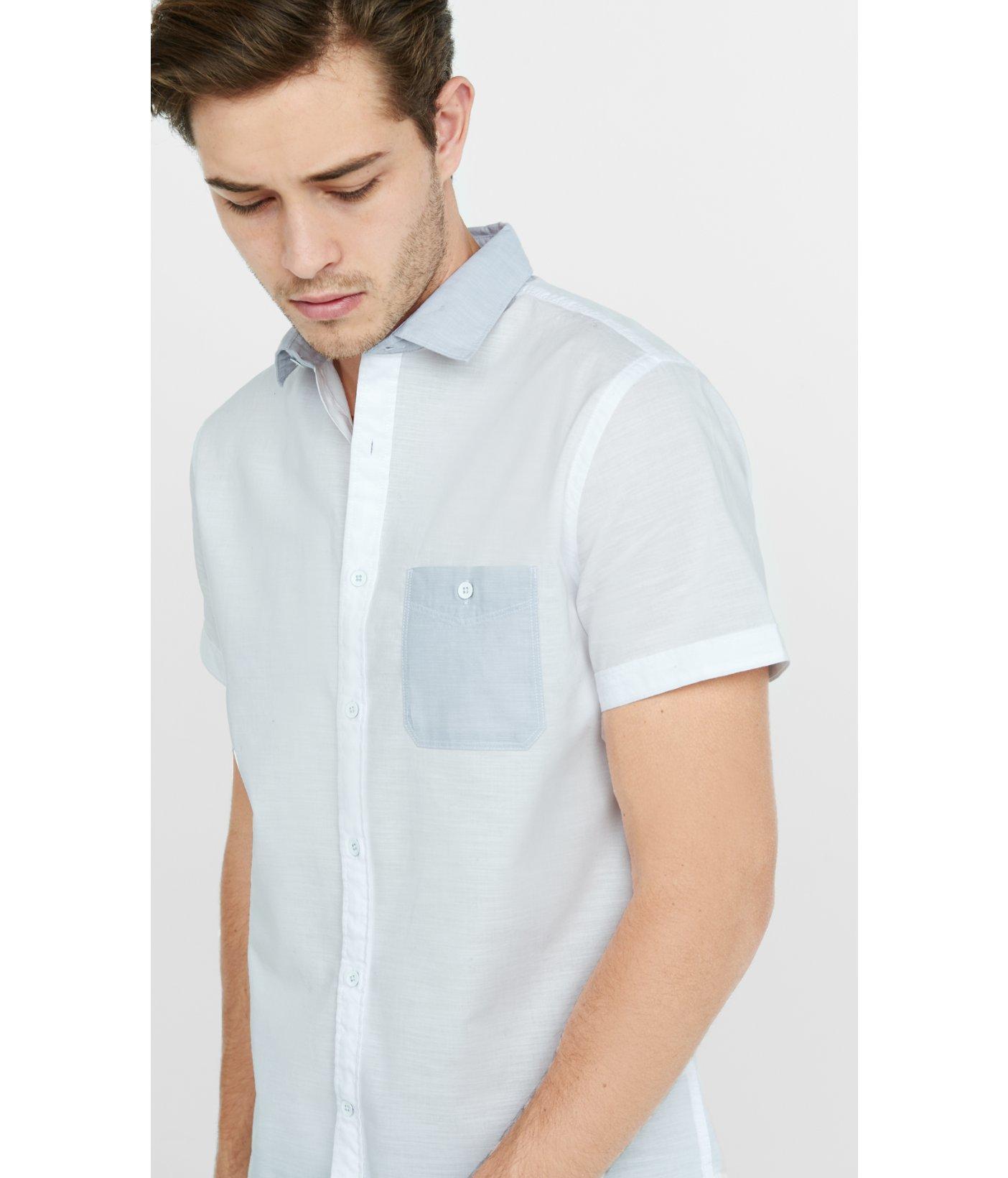 Express Short Sleeve Color Block Slub Chambray Shirt In