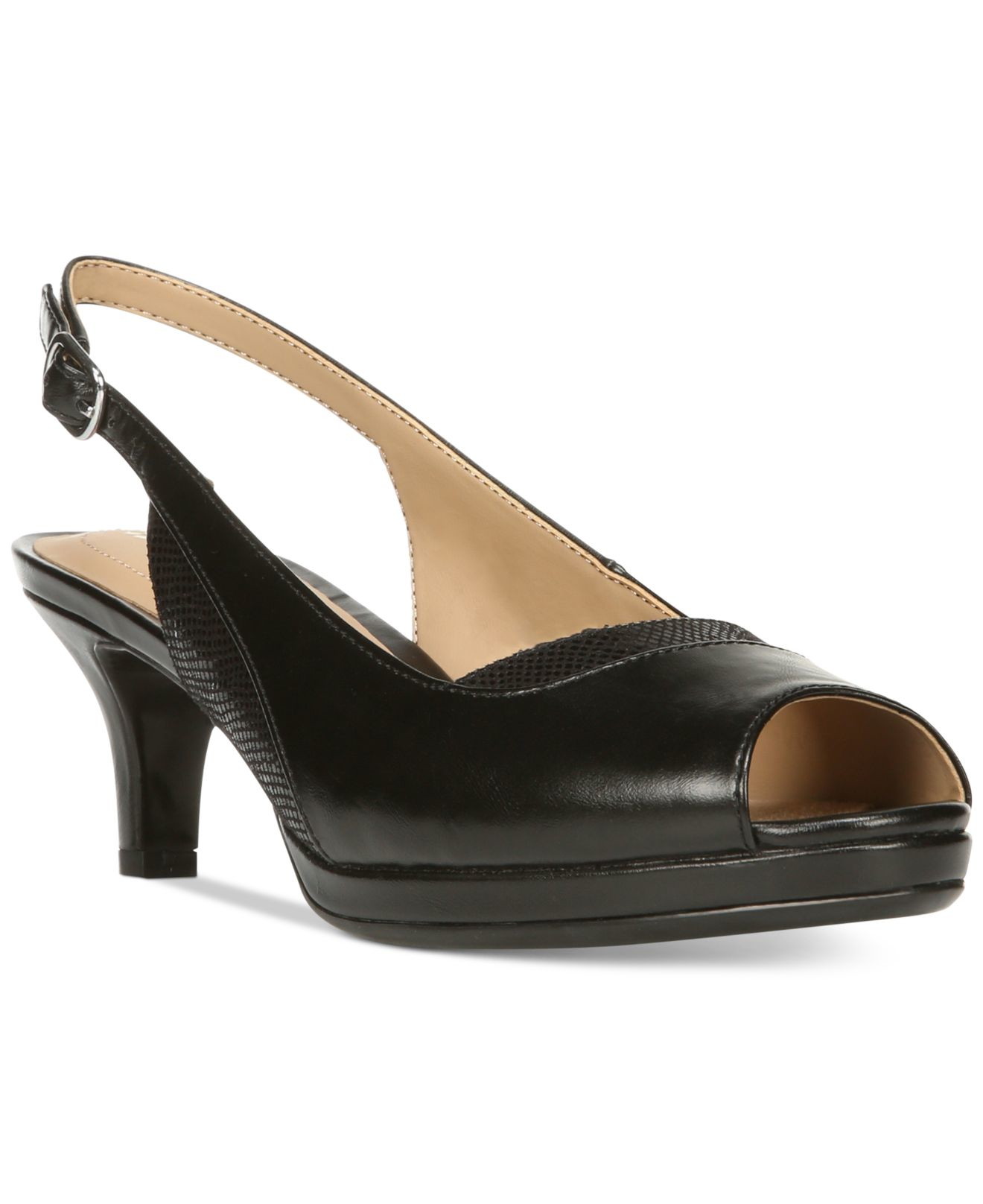 Lyst - Naturalizer Highly Kitten Heel Peep-toe Sandals in Black