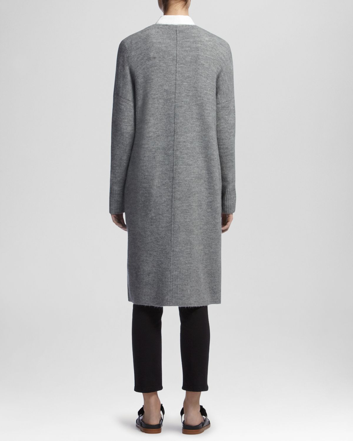 Whistles Cardigan - Longline Chunky Knit in Gray | Lyst