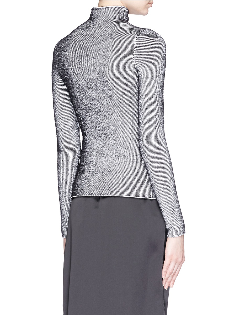 T by alexander wang Contrast Rib Knit Turtleneck Sweater in Gray ...