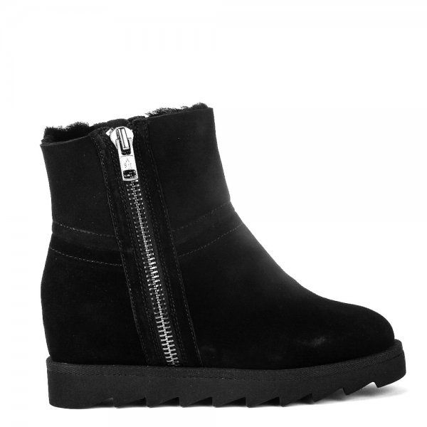 ash yang softy shearling wedge boots in black lyst
