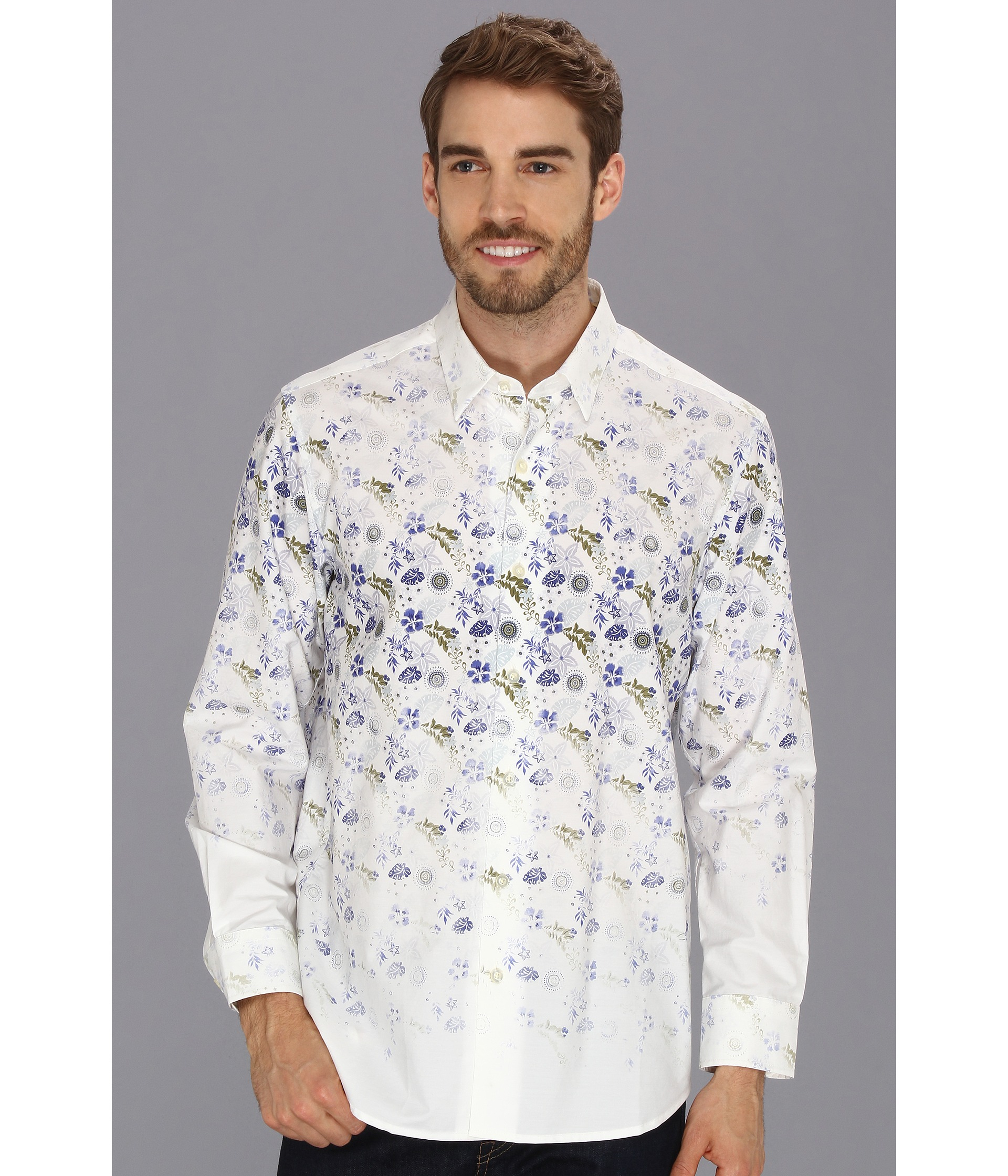Tommy bahama flamenco floral ls shirt in white for men for Tommy bahama christmas shirt 2014