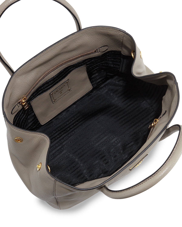 Prada Vitello Daino Garden Tote Bag in Gray (GREY(ARGILLA)) | Lyst