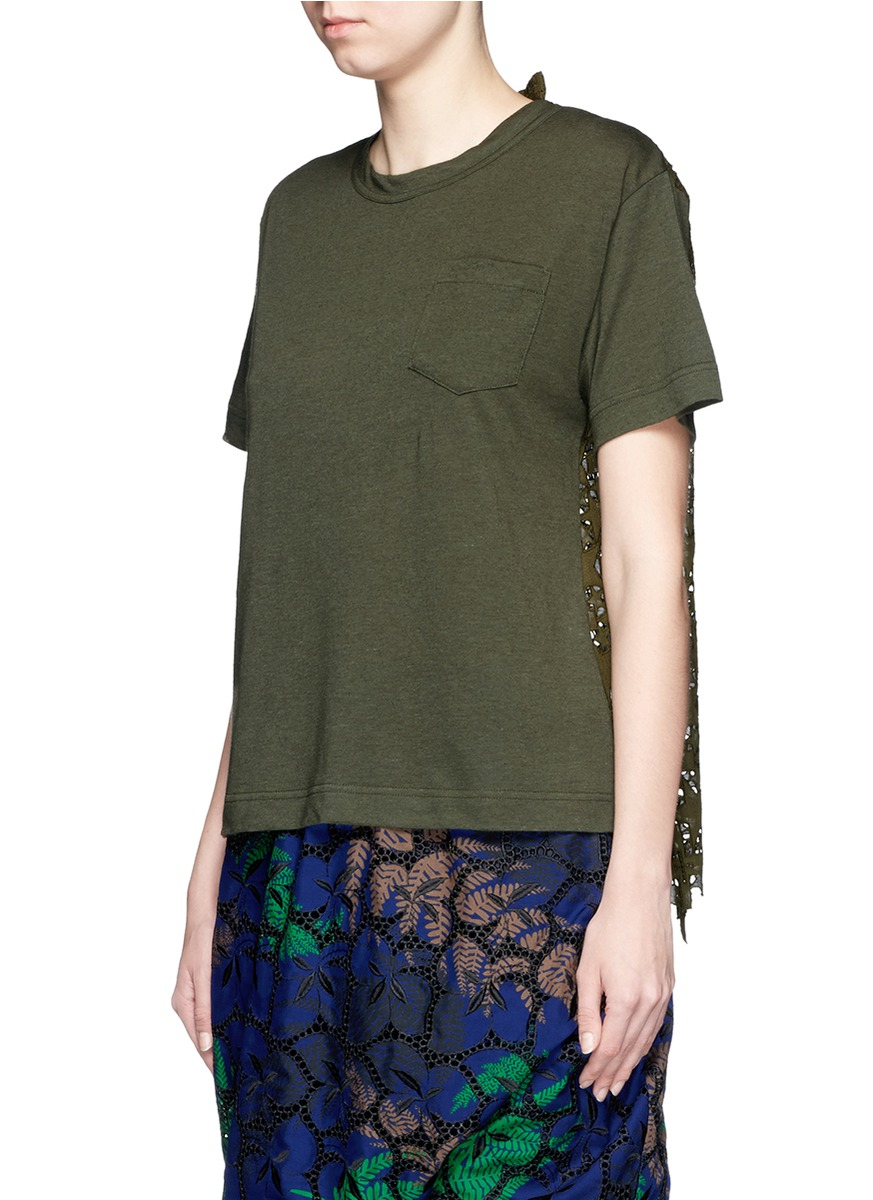 2854ab945280 Lyst - Sacai Star Lace Back Slub T-shirt in Green