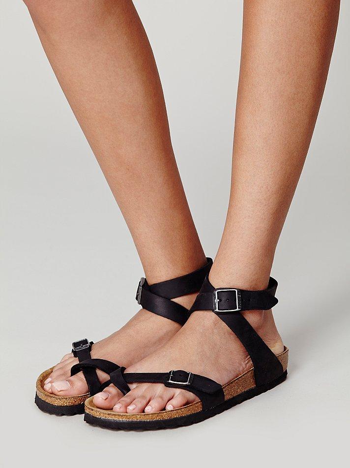 Free people Yara Leather Sandals in Black