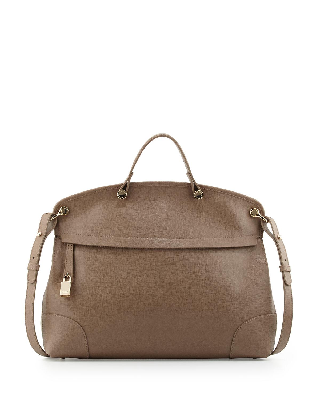Furla Nikole Saffiano Leather Satchel Bag in Brown | Lyst